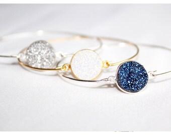 Bracelet jonc argent pierre bleue