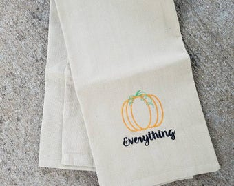 Pumpkin everything - tight weave, cotton tea towel. Green glitter thread accents. Embroidered dish towel