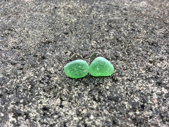 Green Surf Tumbled Sea Glass, Stainless Steel Stud Earrings