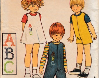 1970 Sewing Pattern Butterick 4141 child's jumper, jumpsuit, embroidery size 1