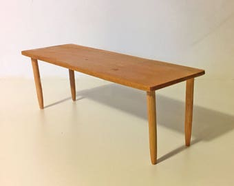 Barbie table 1:6 scale modern furniture for dolls, diorama, dollhouse, action figure, blythe, silkstone, stain walnut, maple, mahogany