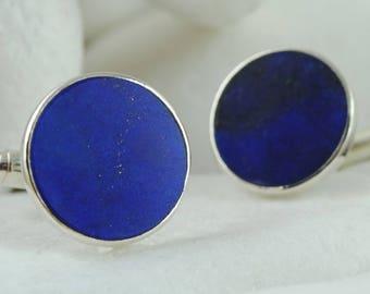 Blue Lapis Lazuli Cufflinks, Handmade, Solid Sterling Silver - FREE Shipping