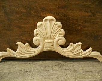 """Wood Onlay- Carved Applique  -  pc -13 7/8""""W x 5 7/8""""H x 3/8""""D-"""