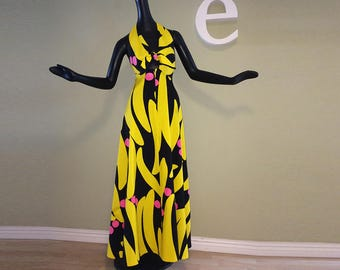 MOD Vintage Hawaiian Maxi Dress 1960s 1970s Tiki Oasis Halter Dress Yellow Black Psychedelic Bananas (!?) 60s 70s Beach by Waltah Clarke's