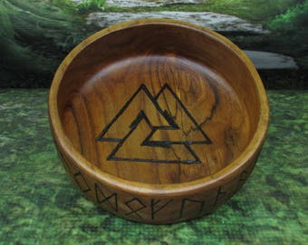 Asatru Blot Bowl: Valknut, Blot Blessing Bowl, Norse Bowli, Asatru Ritual Bowl, Asatru Blessing Bowl, Viking Blessing Bowl, Viking Bowli