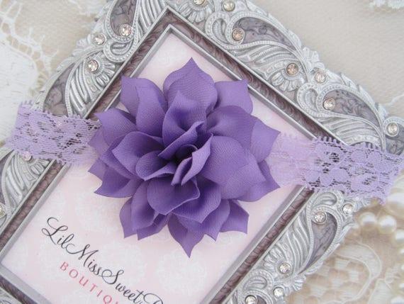 Lavender Lace Flower Headband - newborn photos, photo prop, newborn photographers by Lil Miss Sweet Pea