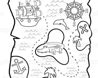 ON SALE Personalized Printable Pirate Treasure Map Birthday Party Favor childrens kids coloring page book activity PDF or Jpeg file