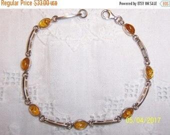 20% OFF VALENTINES SALE Vintage Baltic Honey amber bracelet. Sterling silver.