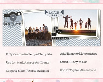 Here & Now Facebook Cover/Timeline, Photoshop Template, INSTANT DOWNLOAD