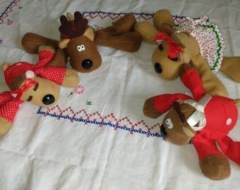 Vintage 1979 Rodney Reindeer And Family Rhonda 1983 and Kids Excellent Retro Christmas