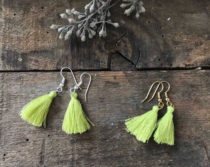 boho tassel earrings, chartreuse green earrings, cotton jewelry, unique bohemian gifts for mother, gifts for girlfriend ,fall jewelry trends