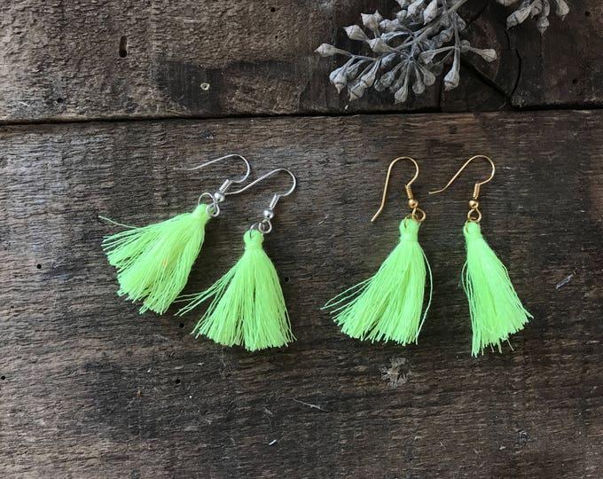 boho tassel earrings, neon lemon highlighter yellow earrings, cotton jewelry, unique bohemian gifts for girlfriend, fall jewelry trends
