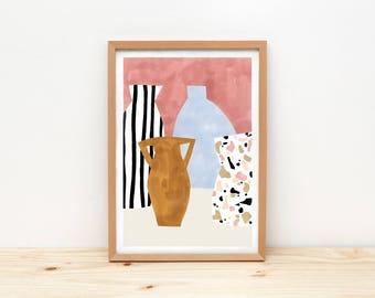 Vases - Terrazzo - illustration by depeapa, print, poster, A4 wall art, wall decor