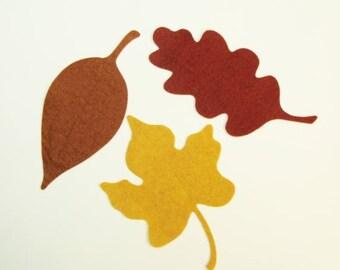 Wool Felt Large Leaf Trio- Die Cut (precut) -U Choose Colors