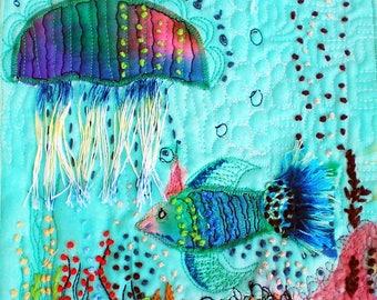 Teal fish originl minil  fiber art, blue mini wallhanging, minir fiber art quilt, mixedmedia  quilt, original fiber art, bird fiber ar