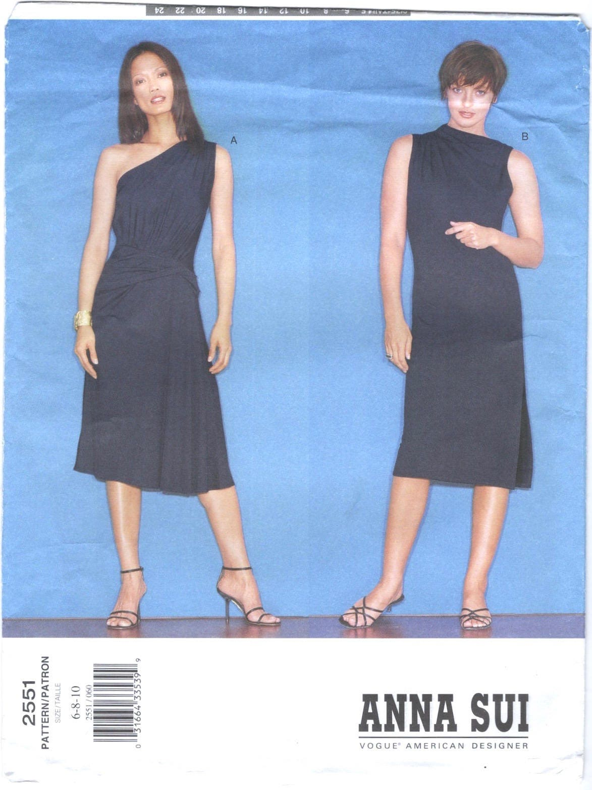 2000s Anna Sui stretch knit dress pattern Vogue 2551