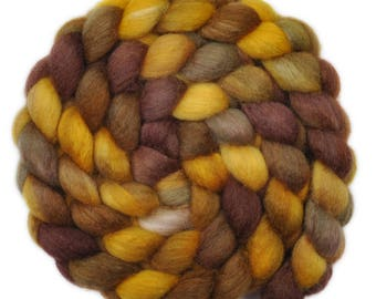 Hand painted roving - Silk / BFL wool 25/75% spinning fiber - 4.3 ounces - Golden Mantled Squirrel 2