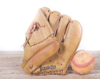 Old Vintage Leather Baseball Glove / Kids Franklin 4000 Baseball Glove / Antique Baseball Glove / Old Glove Antique Mitt / Baseball Decor