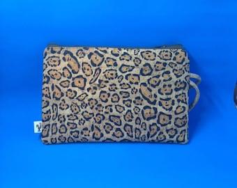 Natural CORK Wristlet - Cheetah Pattern - Vegan - Leather Alternative