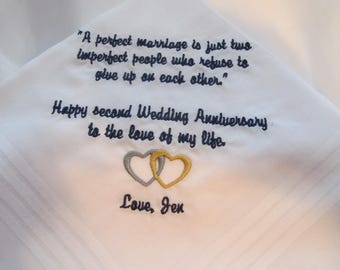 Embroidered Handkerchief for Husband from his Wife on Two Year Anniversary - Cotton