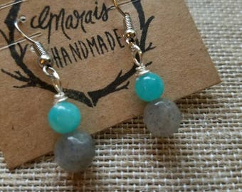 Labradorite and Jade earrings - natural stone jewelry