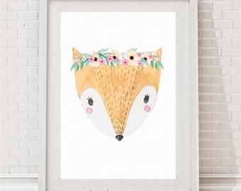 Pretty Fox Watercolour Print