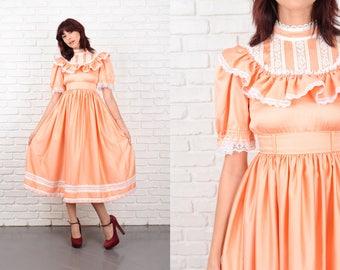 Vintage 70s Victorian Dress Floral Lace Midi boho Peach XXS 10641