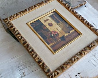 Framed Flower Picture Art Deco, Vintage Cracked Print Still Life, Victorian Wood Framed Print, Retro Cabin Decor Office Library Wall Art