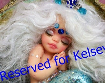 Reserved for Kelsey.....the 2nd & Final payment of 125.00 to be paid in August.  OOAK art doll  mermaid baby polymer clay sept sapphire