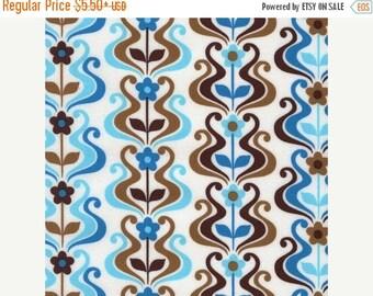 SUMMER SALE Organic Cotton - Blue Waves From Robert Kaufman's Pop Posies Collection