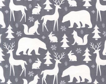 Winter Friends on Grey from Michael Miller Fabric's Woodland Winter Collection