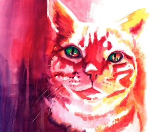 Orange Tabby Cat Watercolor Fine Art Print on Paper, Metal, or Bamboo