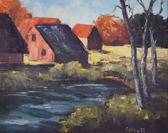 Vintage Signed Landscape Country Oil Painting Cottage River Arline Michaelson