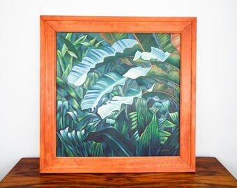 Vintage Oil on Canvas Tropical Green Jungle Painting Signed Erro Rousseau Style