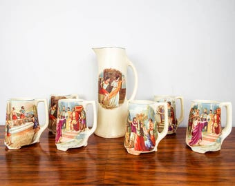 Antique 1910s 20s Ceramic Mugs & Beer Pitcher Roman Religious Scenes Made In USA