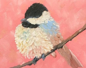 50% off SALE Chickadee 2, Original Hand Painted Oil Painting. Size 6 x 6 canvas