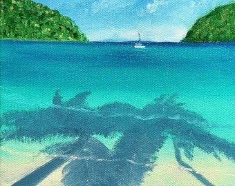 50% off SALE Relaxing by Palm Tree Shade, Original Hand Painted Oil Painting. Size 6 x 6 canvas