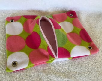 """9""""x14"""" Pocket Hammock for Pet Rats, Sugar Gliders - All Retro Polka Dots with Pink Interior - Won't Fray When Chewed!"""