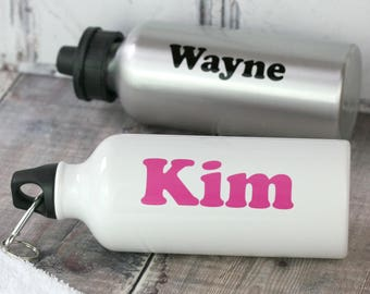 Personalised Water Bottle - Classic typographic sports bottle gift for kids and adults with choice of colours - drink bottle personalised