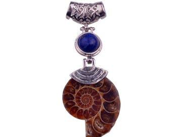 Natural Ammonite Fossil Pendant with jet or amethyst