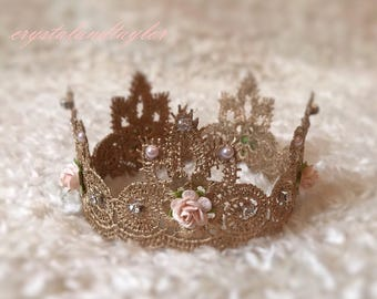 Newborn Gold Lace Crown, Floral Crown, Baby Crown, Girl Crown, Princess Crown, Photo Prop, Baby Prop, Newborn Prop, Small Crown