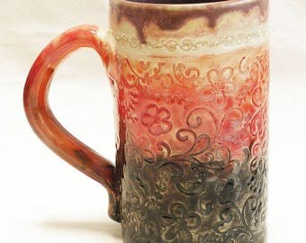 floral 16oz ceramic coffee mug 16C050