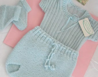 Hand Knit Baby Vest Knickers Set  with Booties Ready to Ship 3M Blue