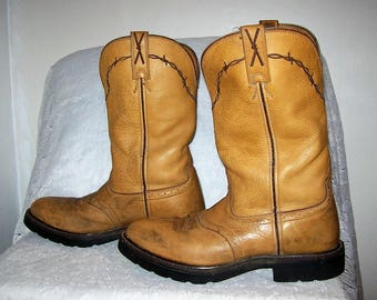 Vintage Men's Tan Leather Cowboy Work Boots by Twisted X Size 9 1/2 Only 25 USD