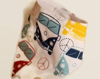 bandana bib VW bus drool bib volkswagon peace bib baby bibs car bib pacifier clip baby spit bib teething bib hippy bib baby items