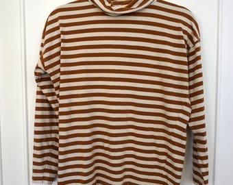 Tan and Cream Striped Turtleneck sz S