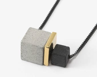 Architectural Concrete Necklace, Minimal Concrete Necklace For Her, Modern Necklace Gift Idea For Architects