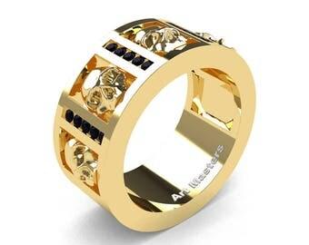 Mens Modern 14K Yellow Gold Channel Black Diamond Skull Wedding Ring R413-14KYGBD