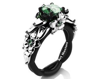 Nature Inspired 14K Black and White Gold 1.0 Ct Green Topaz Floral Engagement Ring R460-14KBWGGT