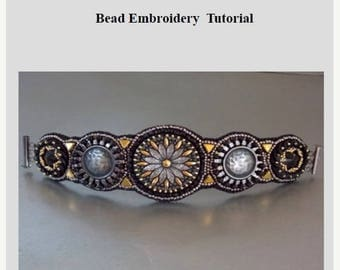 Summer sale -15% KIT, Tutorial and materials,  Bead embroidery ,Beading pattern , Instructions and materials , Steel bracelet, free shipping